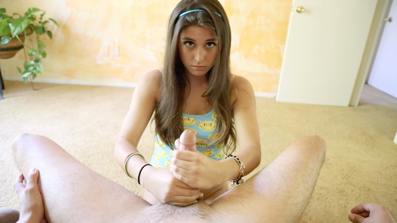 Shy teen Natalie Monroe does a hand job to get better grade.